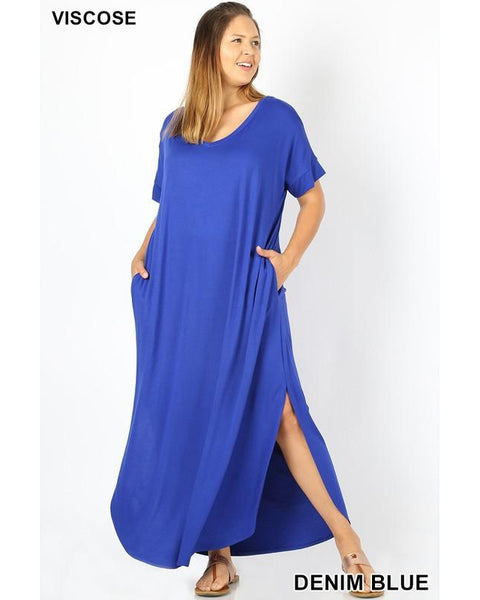 Keeping It Easy Side Slit V-Neck Maxi T-Shirt Dress with Round Hem & Pockets in Denim Blue - Essentially Elegant