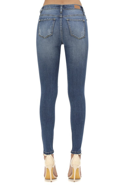 RESTOCKED! Judy Blue Mid Rise Serape Patch Crop Skinny Jeans - Plus Size - Essentially Elegant
