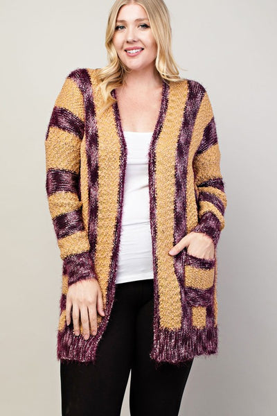 Enchanted Cable Knit Striped Open Front Cardigan - Essentially Elegant