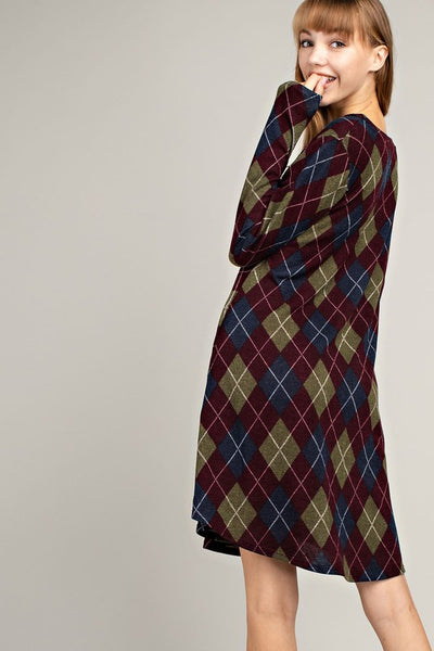 Tis the Season Plaid Pocket Knit Dress - Essentially Elegant