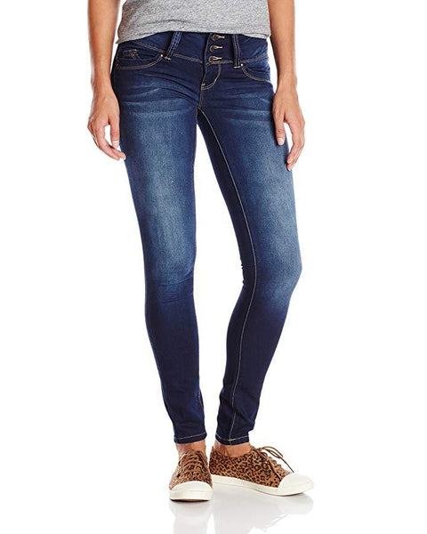 Women's WannaBettaButt Triple Button Wide Waist Skinny Jeans - Petite - Essentially Elegant
