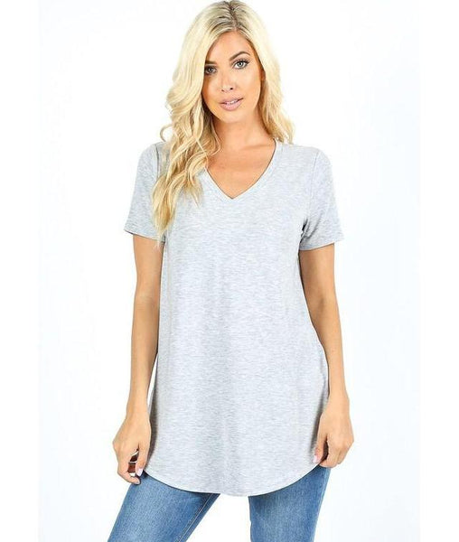 Keeping It Comfortable Short Sleeve V-Neck T-Shirt Top in Heather Grey - Essentially Elegant