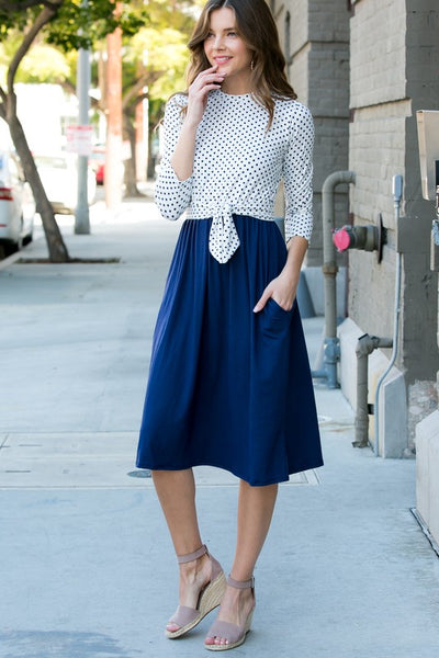 Dotted In Love Midi Dress with 3/4 Sleeves and Pockets in Ivory & Navy - Essentially Elegant
