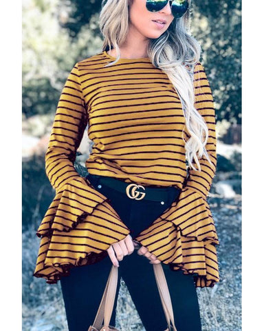 Basic Needs Double Bell Sleeve Casual Top in Mustard