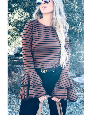 Basic Needs Double Bell Sleeve Casual Top in Brown