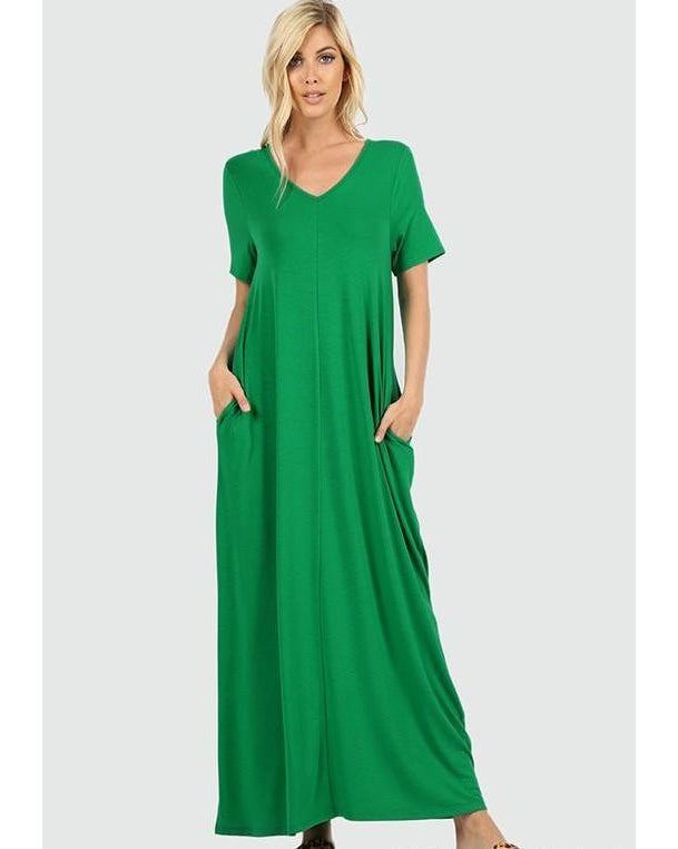 Keeping It Comfy Short Sleeve V-Neck Maxi T-Shirt Dress with Pockets in Kelly Green - Essentially Elegant