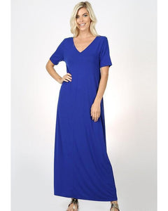 Keeping It Comfy Short Sleeve V-Neck Maxi T-Shirt Dress with Pockets in Denim Blue - Essentially Elegant