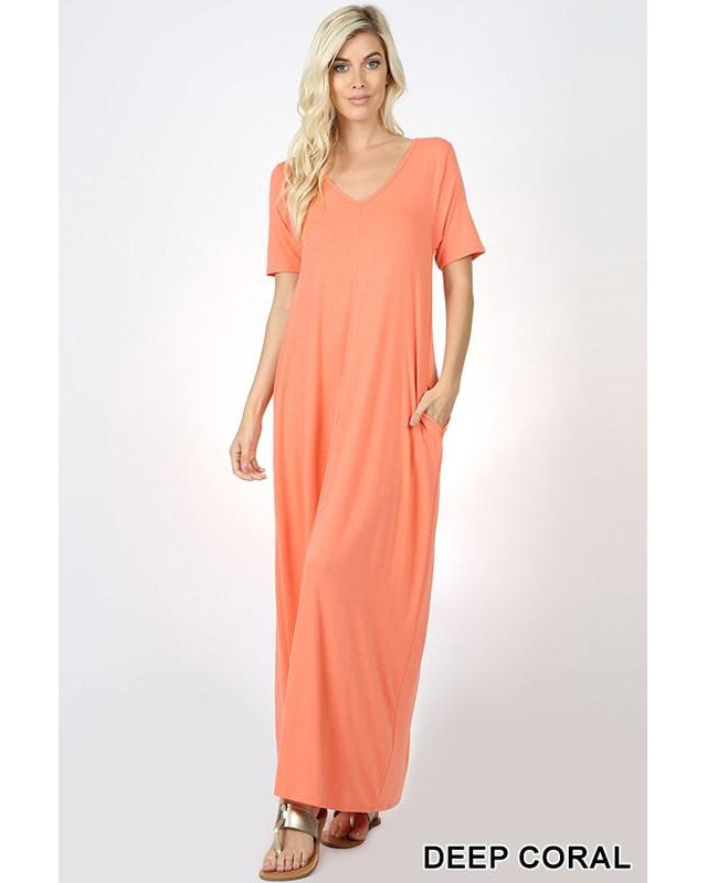 Keeping It Comfy Short Sleeve V-Neck Maxi T-Shirt Dress with Pockets in Deep Coral - Essentially Elegant