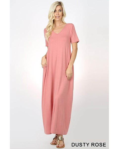 Keeping It Comfy Short Sleeve V-Neck Maxi T-Shirt Dress with Pockets in Dusty Rose - Essentially Elegant