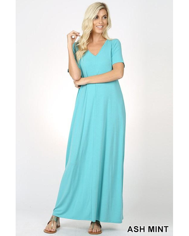 Keeping It Comfy Short Sleeve V-Neck Maxi T-Shirt Dress with Pockets in Ash Mint - Essentially Elegant