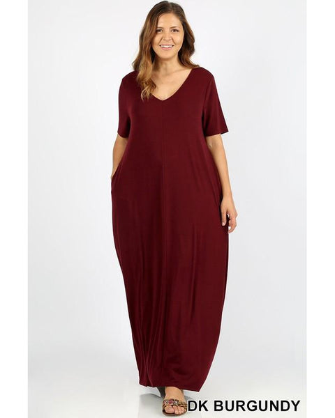 Keeping It Comfy Short Sleeve V-Neck Maxi T-Shirt Dress with Pockets in Dark Burgundy - Essentially Elegant