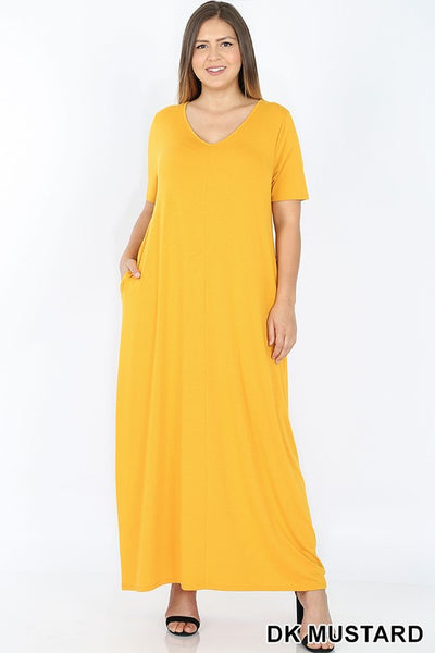 Keeping It Comfy Short Sleeve V-Neck Maxi T-Shirt Dress with Pockets in Dark Mustard - Essentially Elegant
