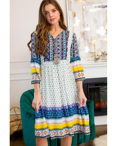Pleasantly Surprised Boho Print Midi Peasant Dress - Essentially Elegant
