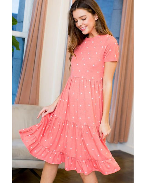 COMING SOON! Cassidy Polka Dot Midi Dress in Coral - Essentially Elegant