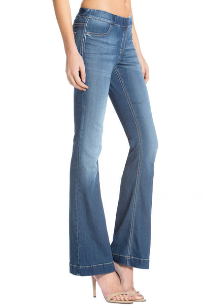 Cello Mid Rise Pull On Deluxe Comfort Flare Jeans - Medium Denim - Essentially Elegant