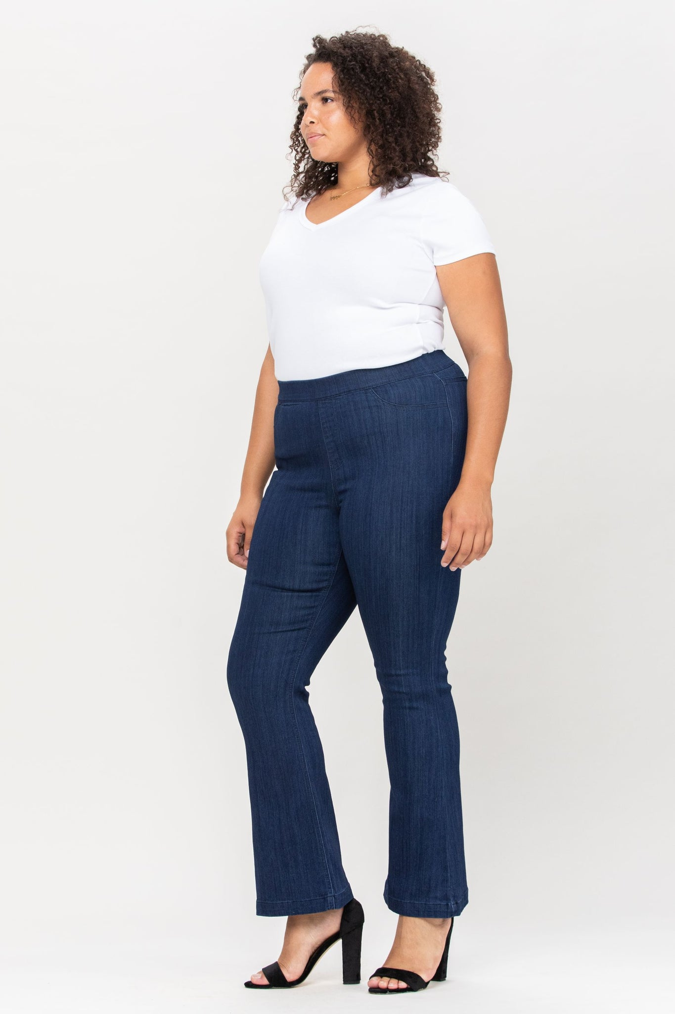 Cello Mid Rise Pull On Deluxe Comfort Flare Jeans - Dark Blue Denim - Petite Plus
