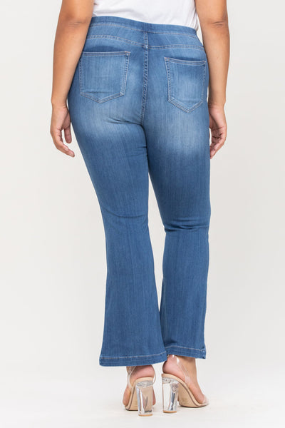 Cello Mid Rise Pull On Deluxe Comfort Flare Jeans - Medium Denim - Petite Plus