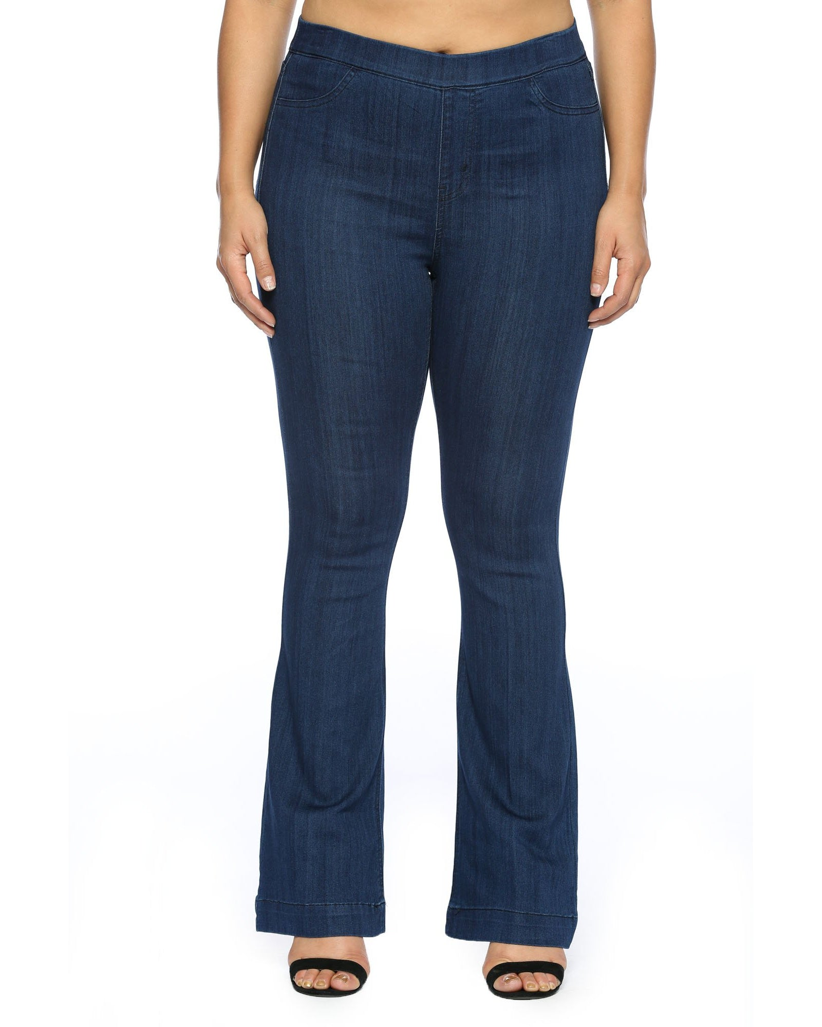 New Arrival!!! Cello Mid Rise Pull On Deluxe Comfort Flare Jeans - Dark Blue Denim - Plus - Essentially Elegant