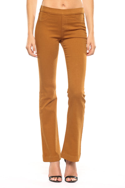 New Arrival!! Cello Mid Rise Pull On Deluxe Comfort Flare Jeans - Caramel - Essentially Elegant