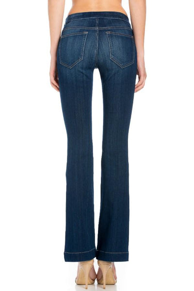 RESTOCKED!!! Cello Mid Rise Pull On Deluxe Comfort Flare Jeans - Dark Denim - Essentially Elegant