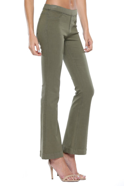 New Arrival!! Cello Mid Rise Pull On Deluxe Comfort Flare Olive Jeans - Military Wash - Essentially Elegant