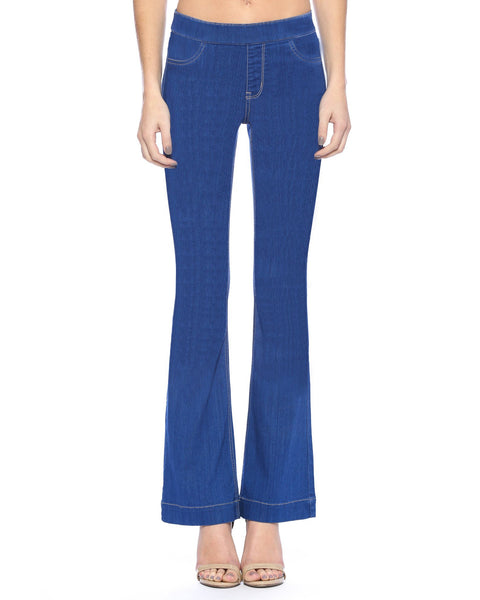 Cello Mid Rise Pull On Deluxe Comfort Flare Jeans - Blue Denim - Essentially Elegant