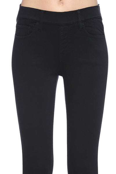 Cello Mid Rise Pull On Deluxe Comfort Skinny Jeans - Black - Essentially Elegant