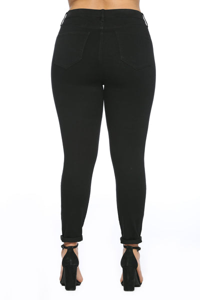 Cello Mid Rise Pull On Deluxe Comfort Skinny Jeans - Black - Plus Size - Essentially Elegant