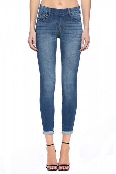 Cello Mid Rise Pull On Deluxe Comfort Skinny Jeans - Medium Denim - Essentially Elegant