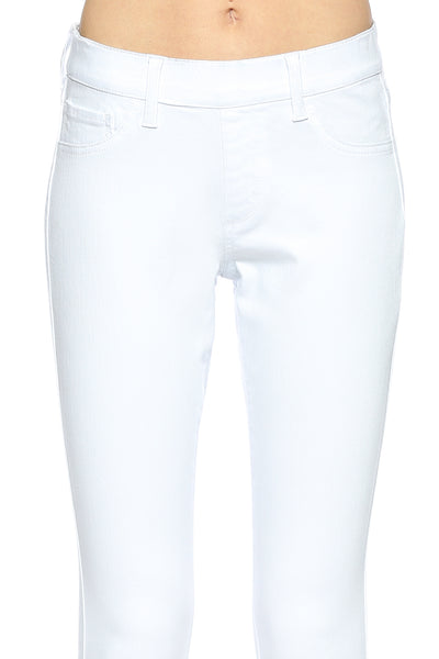Cello Mid Rise Pull On Deluxe Comfort Skinny Jeans - White - Essentially Elegant