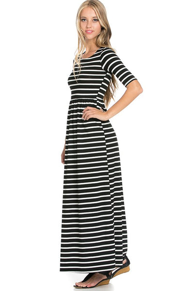 Night Out Black and Ivory Stripe Fitted Maxi Dress - Essentially Elegant