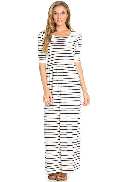 Out to Brunch Navy and Ivory Stripe Fitted Maxi Dress - Essentially Elegant