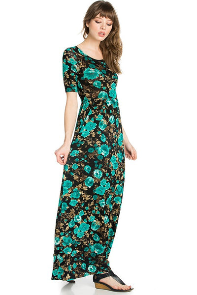 Attention Please Floral Fitted Maxi Dress - Essentially Elegant