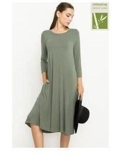 Bamboo Fabric Midi Dress with 3/4 Sleeves and Pockets in Olive - Essentially Elegant
