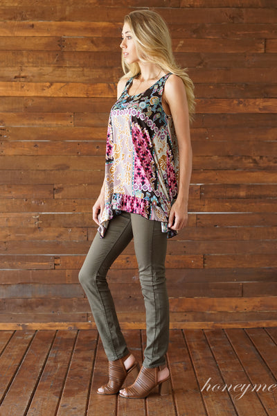 Summer Time Print Tank in Burgundy and Brown - Essentially Elegant