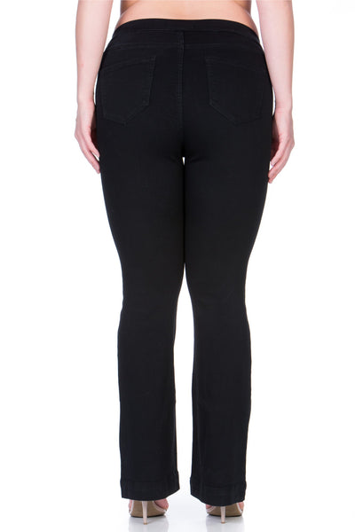 Cello Mid Rise Pull On Deluxe Comfort Flare Jeans - Black - Plus - Essentially Elegant