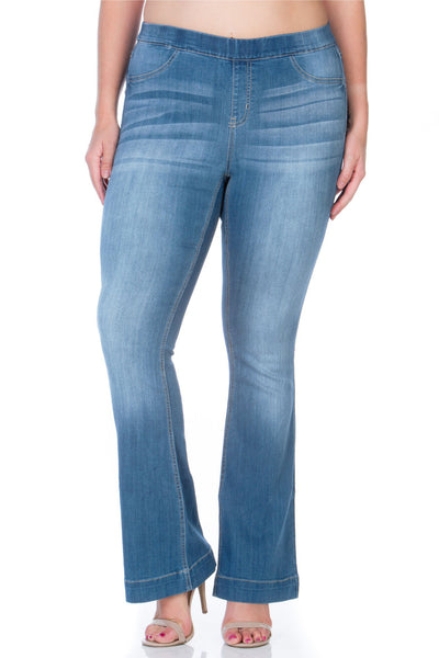 Cello Mid Rise Pull On Deluxe Comfort Flare Jeans - Medium Denim - Plus - Essentially Elegant
