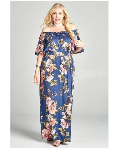 Beach Beauty Floral Print Maxi Dress in Navy - Essentially Elegant