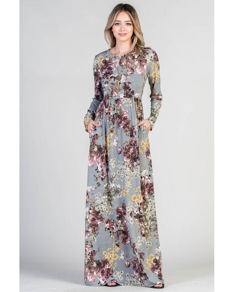 Beautiful Night Silver Floral Print Maxi Dress with Long Sleeves and Pockets - Essentially Elegant