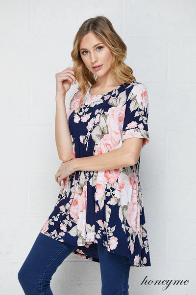 Be Mine Navy and Pink Floral Short Sleeve Babydoll Tunic Top - Essentially Elegant