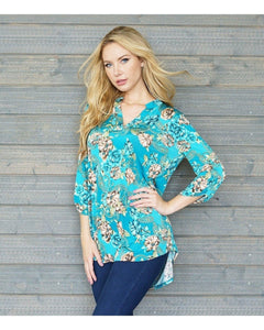 Jade Floral Top with 3/4 Sleeves - Essentially Elegant