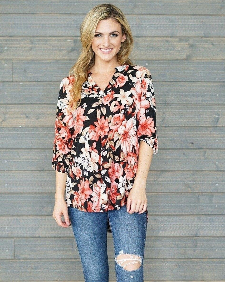 Black Floral Top with 3/4 Sleeves - Essentially Elegant