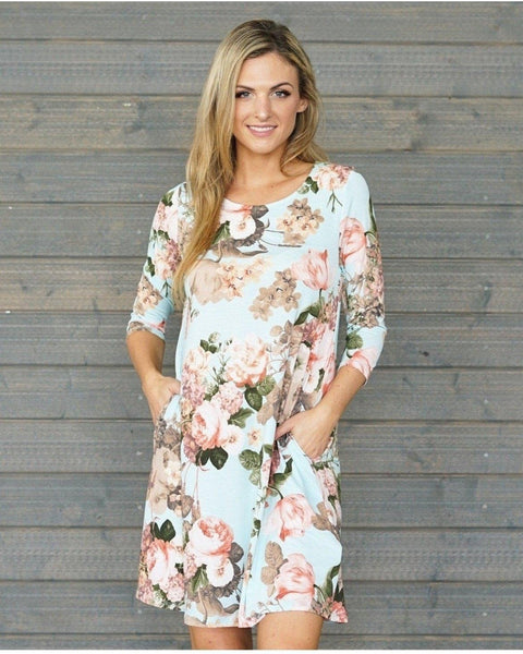 Mint Floral Dress with 3/4 Sleeves - Essentially Elegant
