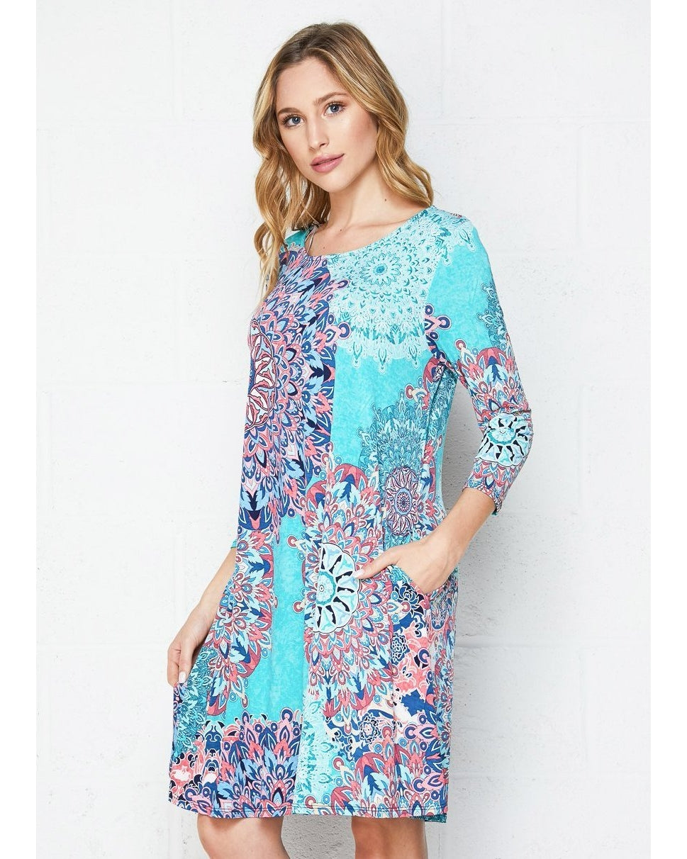 Jaded Heart Bold Print Swing Dress with 3/4 Sleeves and Pockets - Essentially Elegant