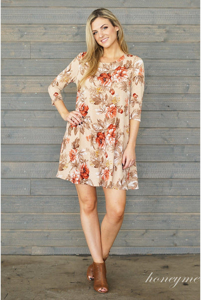 Fall Floral Print Dress with 3/4 Sleeves - Essentially Elegant