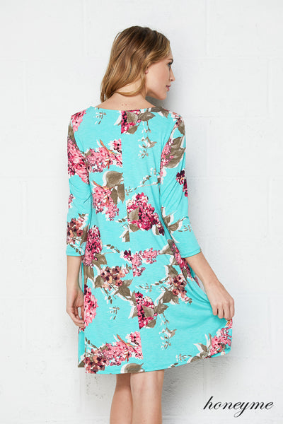 Off She Goes Mint Floral Dress with 3/4 Sleeves and Pockets - Essentially Elegant