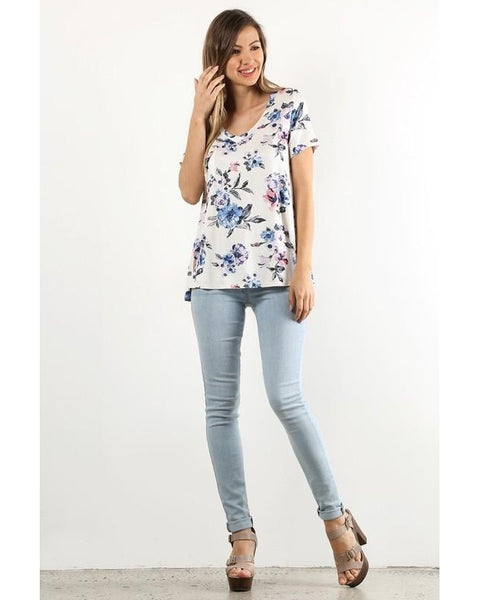 Comfy and Casual Floral Print V-Neck Short Sleeve Top in White or Pink - Essentially Elegant