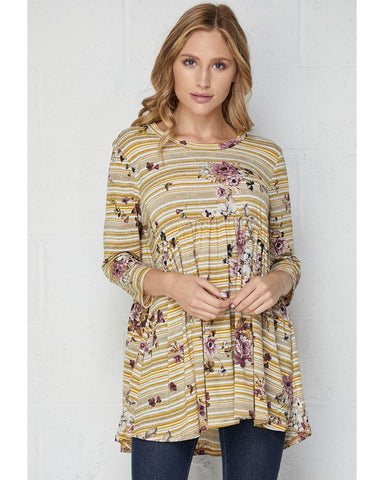 At First Sight Mustard and Mauve 3/4 Sleeve Babydoll Tunic Top - Essentially Elegant