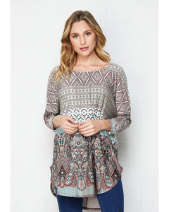 Out Of Sight Print Dolman Top with 3/4 Sleeves - Essentially Elegant