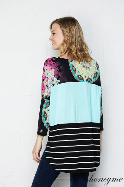 Be Bold Color Block Print Top with 3/4 Sleeves - Essentially Elegant